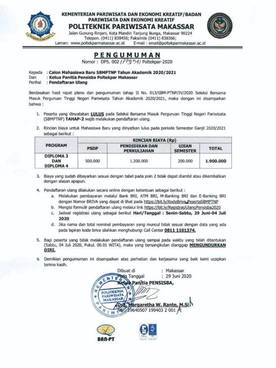 PENGUMUMAN PERIHAL PENDAFTARAN ULANG!Jalur SBMPTNP Tahun Akademik 2020/2021