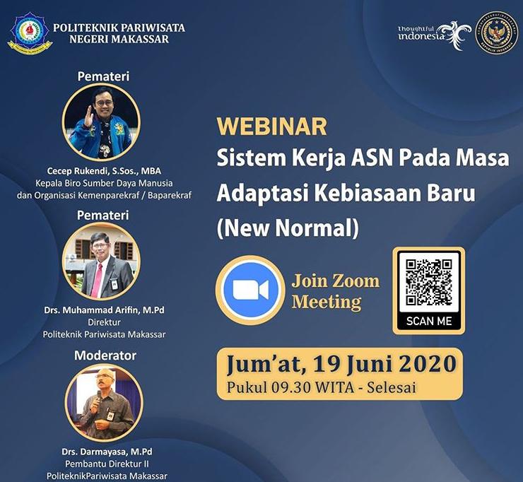 Politeknik Pariwisata Makassar dalam mengikuti tatanan baru (New Normal) akan melaksanakan virtual meeting bersama Civitas Academica Poltekpar Makassar.