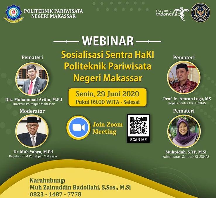 """WEBINAR """"Sosialisasi Sentra HaKI Politeknik Pariwisata Negeri Makassar"""