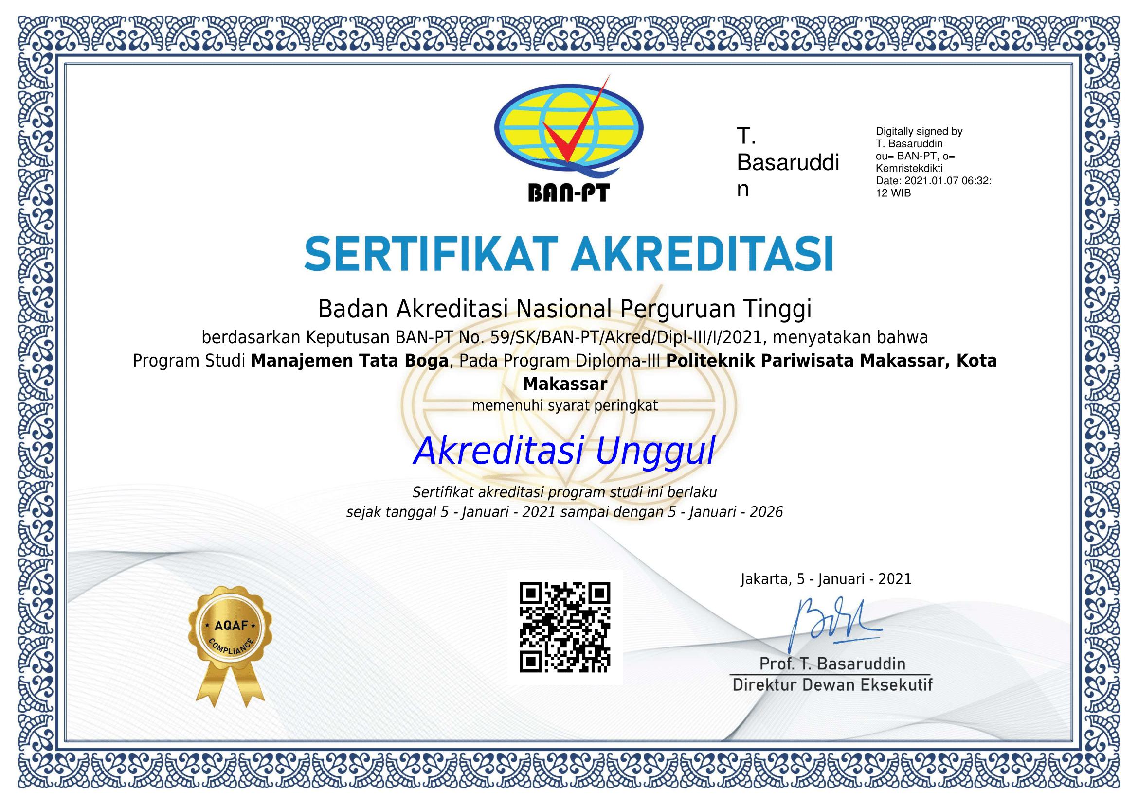 Bangga! Prodi Manajemen Tata Boga (MTB) Mendapatkan Akreditasi Unggul dari BAN-PT